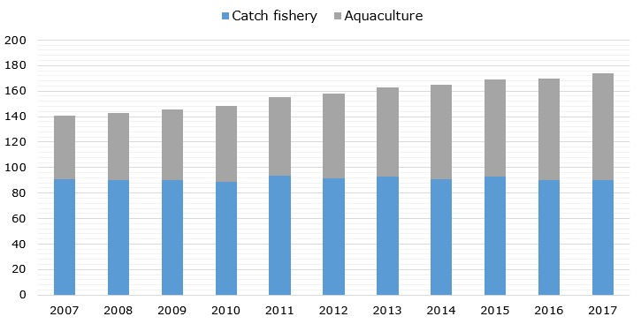 World's fish production volume during 2007-2017 (in million metric tons)